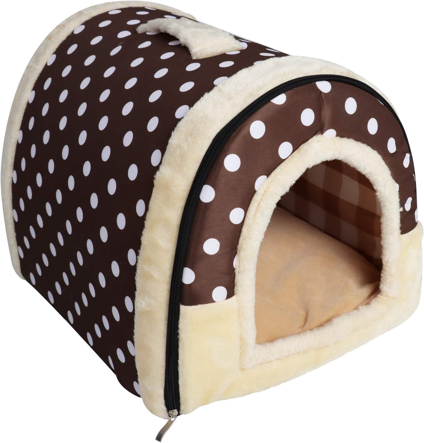 YouthUnion Cama para Mascota, Casa Estera Casera Diseño de Triángulo Edredón Máquina Saco de Dormir Caliente Lavable Cómoda para Gatito Gatos Perros Cachorro Conejo Invierno (L, Color 2)