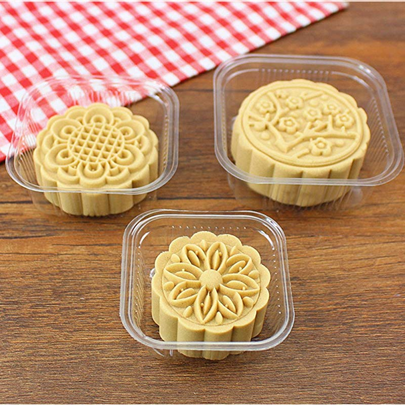 63 80 G Moon Cake Trays Thick Egg Yolk Puff Holder 200 Counts White Clear Clear