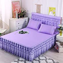 Lace Yarn Mattress Cover,Non-Slip Bedspread Mattress Protective Case Available in All Seasons Lotus Leaf Lace