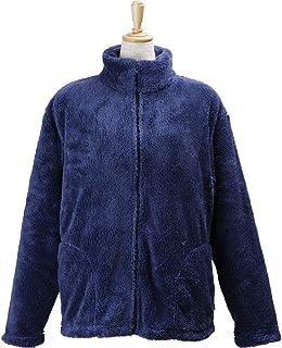 アイリスプラザ マイクロミンクファー 着る毛布 着丈67cm ポケット付 ルームジャケット もこもこ ふわふわな肌触り 部屋着 エアコン対策 秋冬 静電気防止 洗える 無地 ネイビー