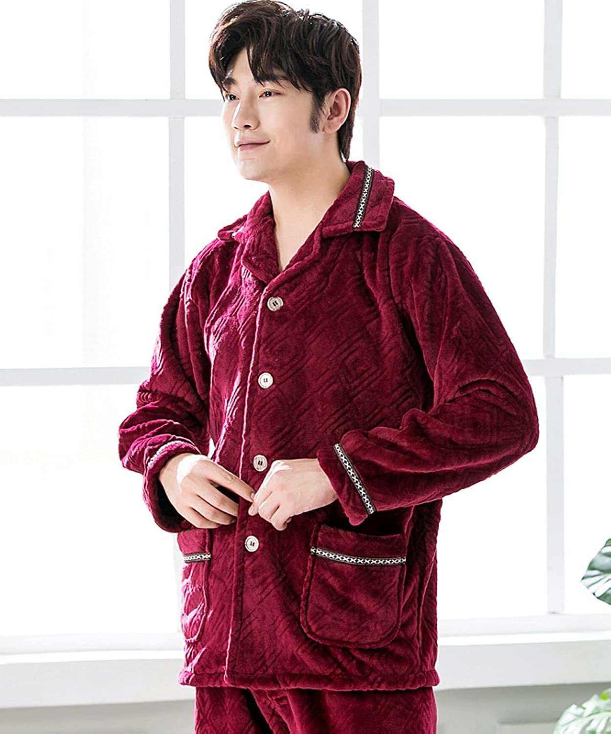 WIITON Men's Solid Color Long-Sleeved Flannel Plus Size Thick Coral Fleece Homewear Pajamas Set