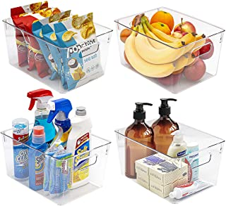 Sorbus Storage Bins Clear Plastic Organizer Container Holders with Handles - Versatile for Kitchen, Refrigerator, Cabinet,...