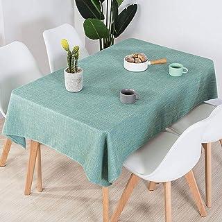 YUBIN Cubierta de Mesa de algodón Rectangular de Color sólido de Color Blanco Resumen de Polvo Lavado para Cocina Dinnile ...