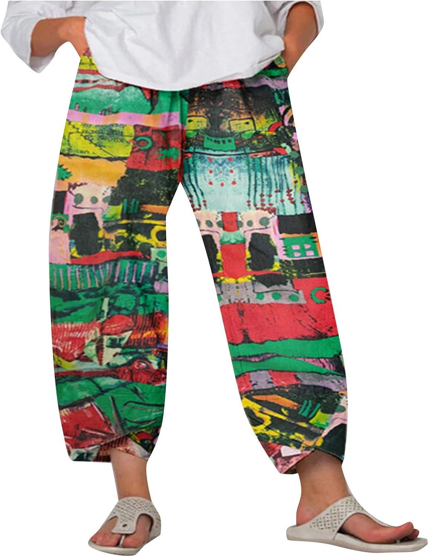 Toeava Casual Pants for Women,Boho Vintage Printing Loose Harem Pants Elastic Waist Comfy Soft Capris Cropped Trousers