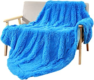DECOSY Super Soft Faux Fur Warm Cozy Throw Blanket Royal Blue 50