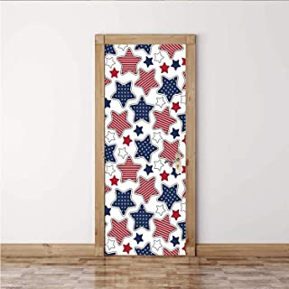"""ALUONI USA Unique Door Sticker,Big Star Figures with American Flag Featured Inner Lines Proud Country Design Decorative for Door,1PCS/Set(30""""W x 78""""H)"""