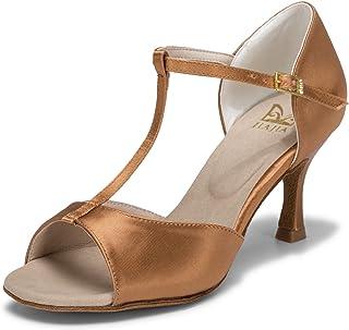 JIA JIA 20511 Latina Sandalias De Mujer 2.7 ''Talón Acampanado Super Satinado Zapatos de Baile