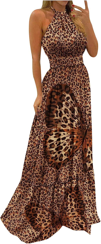 Women Maxi New arrival Long Dress Tropical Mesa Mall Print Halter Neck Backless Sundre