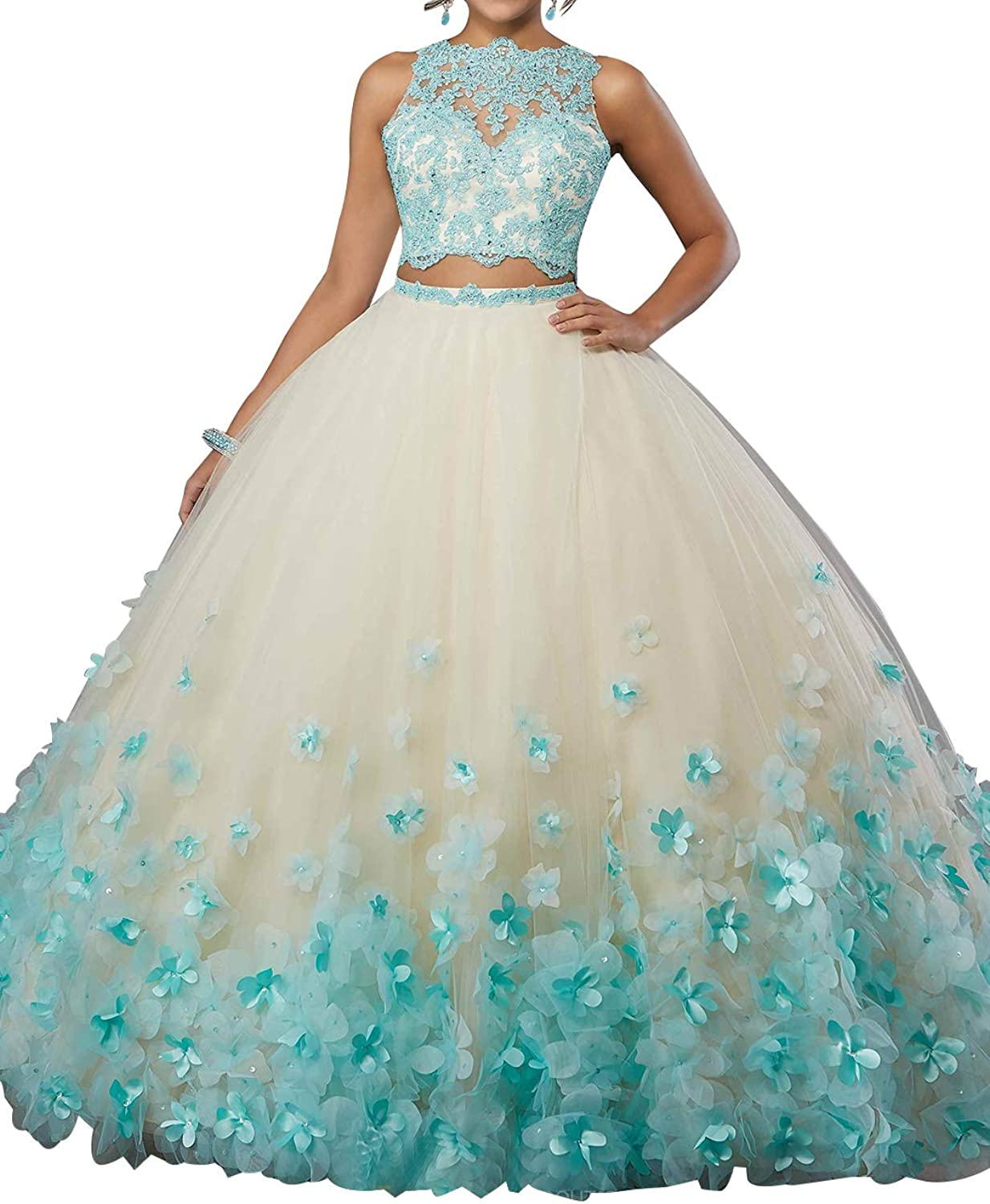 Two Piece Ball Gowns Long Applique Backless ALine Quinceanera Dresses for Women