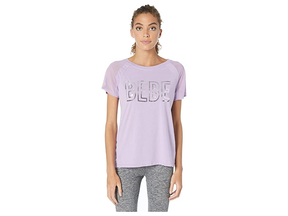 Bebe Sport Mesh Sleeve Sequins Logo Top (Lilac Grey) Women
