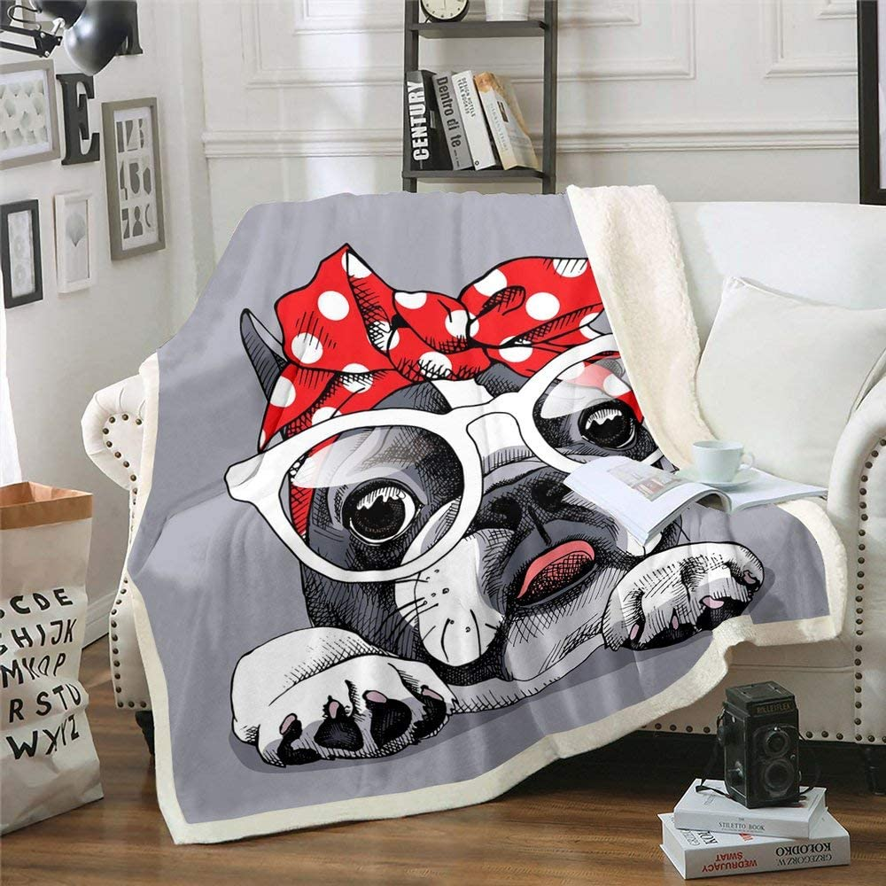 free Pug Fleece Blanket Lovely Puppy Sherpa Cute Beauty products Animals Dog