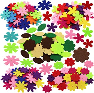 SOOKOO 5 Shapes 150 PCS Felt Flowers Fabric Flower Embellishments for DIY Crafts Sewing Handcraft, Assorted Color