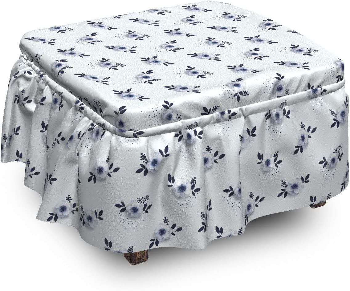 Ambesonne Floral Ottoman Cover Simplistic Tampa Mall Pi 2 Flowers OFFicial mail order Anemone