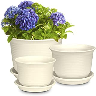 Plastic Plant Pots, Rifny 6 7 8 Inch Round Flower Pots with Drainage Holes and Tray, Set of 3 Plant Containers for Indoor ...