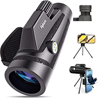 Flyhare Monocular Telescope, 12x50 HD Monocular Telescope with (Smartphone Holder,Tripod,Hand Strap), Waterproof Fog Monocular Telescope with Clear Low Light Vision for Bird Watching,Hunting,Hiking