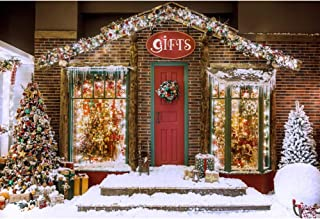 Leyiyi 10x6.5ft Photography Background Christmas 2019 Happy New Year Winter Outdoors Backdrop Gift Brick House Snow Balls Christmas Trees Red Door Xmas Garland Sparkling Luminous Light