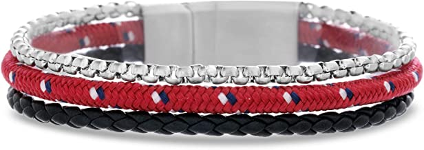 Ben Sherman Men's Black Braided Leather and Rolo Box Chain with Red Wrap Cord 3 Strand Bracelet in Stainless Steel, Red, 8