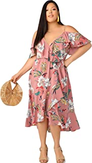 c10299a686d8 Milumia Women's Plus Size Cold Shoulder Floral Slit Hem Tropical Summer Maxi  Dress