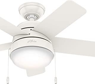 Hunter Fan 36 inch Contemporary Fresh White Indoor Ceiling Fan with Light Kit (Renewed)