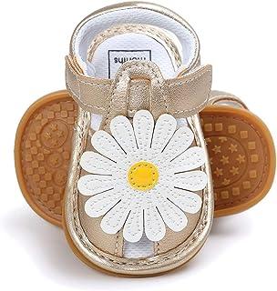 Summer Anti-Slip Sandal Shoes Sun Flower Decoration Prewalker Baby Girls T-Strap Hook & Loop Tape Infant Sandals
