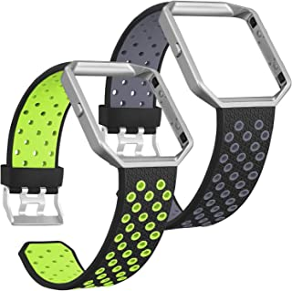 SKYLET Compatible with Fitbit Blaze Bands and Frames, 2 Pack Sport Silicone Replacement Breathable Wristbands Compatible with Fitbit Blaze Smart Watch Men Women Black