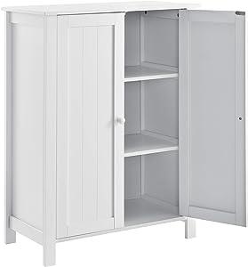 en.CASA Armoire de Salle de Bain Meuble de Rangement 3 étagères 2 avec Porte MDF laqué 80 x 60 x 30 cm Blanc