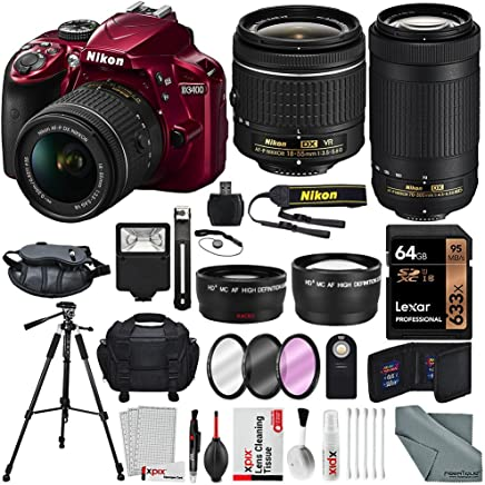 $689 » Nikon D3400 with AF-P DX NIKKOR 18-55mm f/3.5-5.6G VR (Red) + Nikon AF-P DX NIKKOR 70-300mm f/4.5-6.3G ED Lens + 64GB, Deluxe Accessory Bundle and Xpix Cleaning Accessories