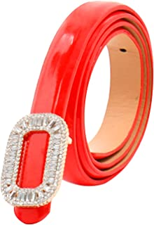 uxcell Women Rhinestone Decor Press Buckle Skinny Waist Belt