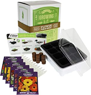 Annual Flower Garden Seed Starter Kit | Basic | 6 Varieties of Flower Seeds for Planting: Calendula, Alyssum, Nasturtium, Zinnia & Cosmos