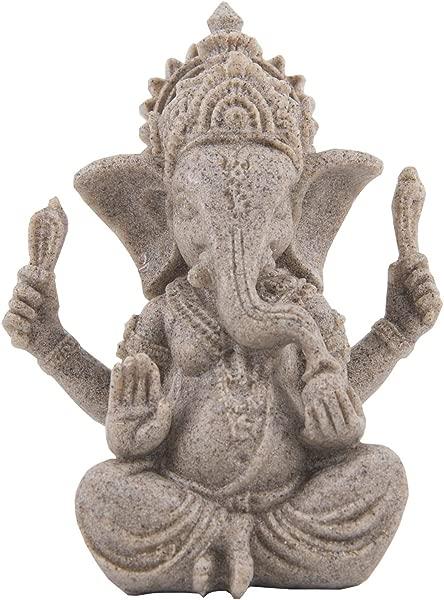 Funnuf Ganesha Statue Sculpture Sandstone Ganesh Elephant God Buddha Figurine Middle Size 3 94 X 3 54 X 5 12