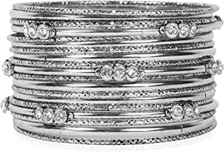 RIAH FASHION Bohemian Stackable Multi Layer Cuff Bracelet - Gypsy Statement Infinity Wrist Bangle Set Metallic Leopard Animal, Genuine Leather, Turquoise
