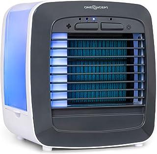 Oneconcept Icecube Ventilador - 6W, Depósito de Agua de 600 ml, 3 Funciones: Enfriador de Aire, humidificador y Limpiador, 3 velocidades, Gentle Cool, 2 acumuladores de frío, Luces LED, Blanco