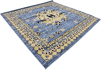 Unique Loom Taftan Collection Geometric Tribal Light Blue Square Rug (8' 0 x 8' 0)