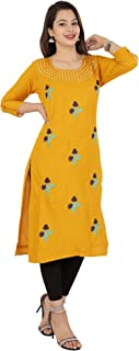 RED MARLIN Yellow Straight kurti (XX-Large)