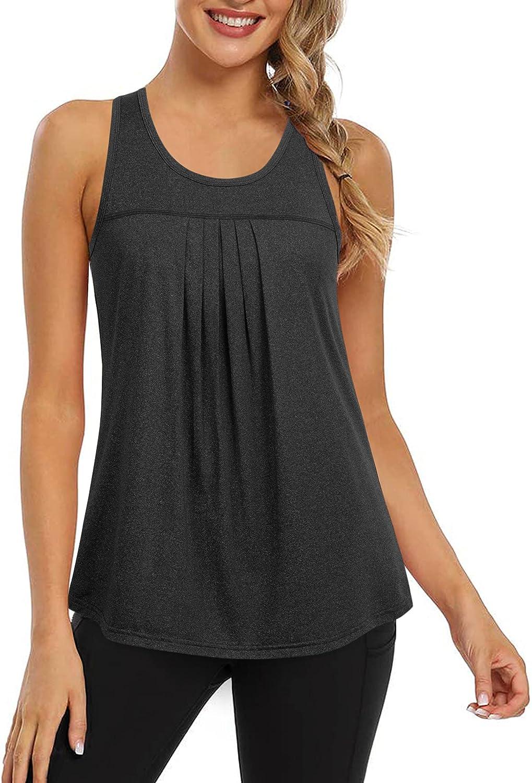 VALOLIA Women Tank Tops Summer Loose Fit Sleeveless Tops Running Exercise T-Shirt Workout Tank Tops