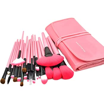KanCai® 24 PCS pinceles de maquillaje profesional de mango de madera sintética cosméticos kit de pinceles y brochas de maquillaje con estuche de piel: Amazon.es: Belleza