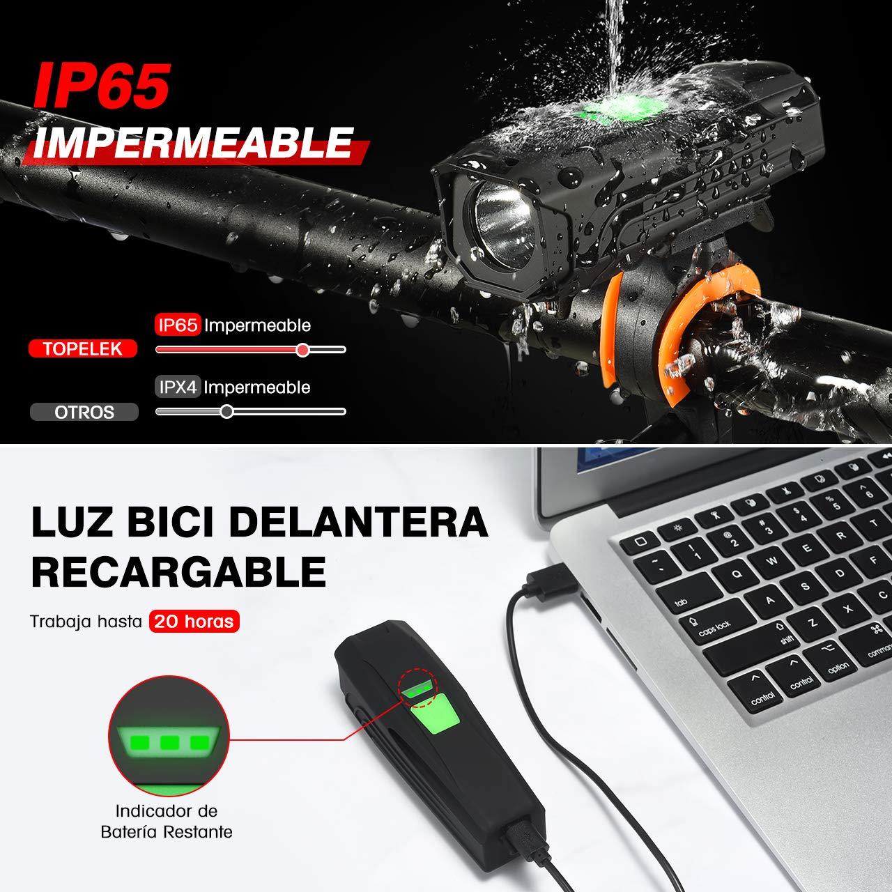 TOPELEK Luz Bicicleta USB Recargable, Luz Bicicleta Potente ...