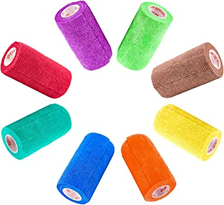 3 Inch Self Adhesive Medical Bandage Wrap Tape (Assorted Colors) (6 Pack) Strong Elastic Self Adherent Cohesive First Aid Sport Flex Rolls for Wrist Ankle Knee Sprains and Swelling