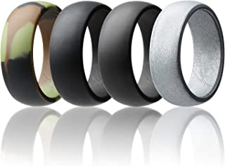ROQ Silicone Wedding Ring for Men Affordable Silicone Rubber Band, 7 Pack, 4 Pack & Singles - Camo, Metal Look Silver, Black, Grey, Light Grey
