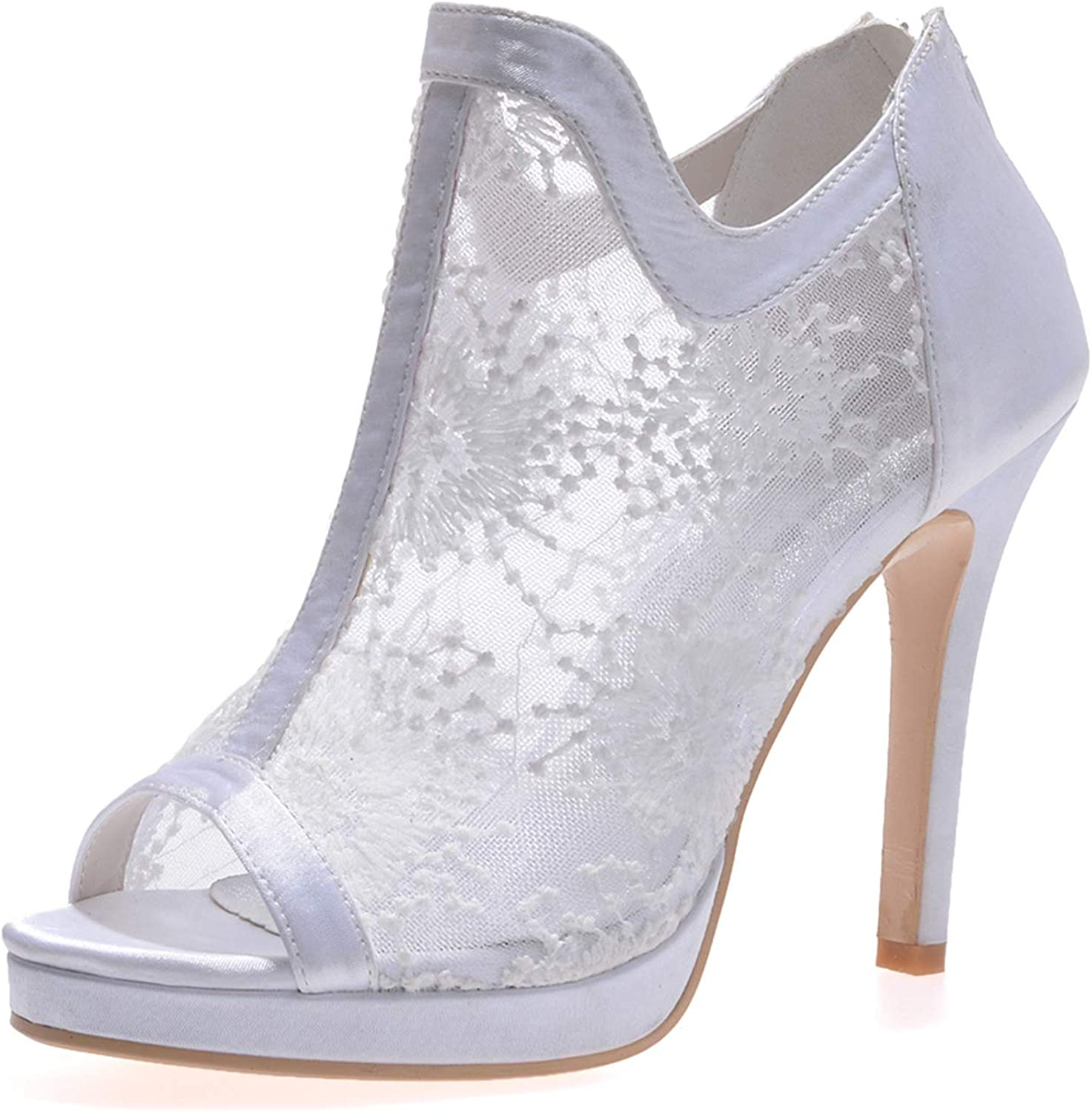 LLBubble Women's High Heels Peep Toe Lace Ankle Boot Wedding shoes Breathable Stiletto Heel Formal Party Bridal Pumps 5915-02
