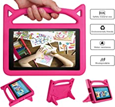 All-New Aamzon Kindle Fire HD 8 Kids Tablet Case(8th/7th Generation,2018 and 2017 Release) - Mr. Spades [Corner Protection] Anti Slip Shockproof Light Weight Kids Friendly Protective Case - PINK