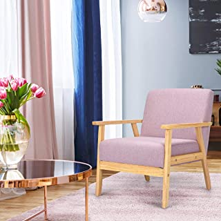Giantex Mid-Century Modern Child Armchair w/Armrests, Sturdy & Durable Rubber Wood Club Chair w/Cushions, Wood Frame & Linen Arm Chair, Solid Wood Frame Low Lounge Armchair (Pink)