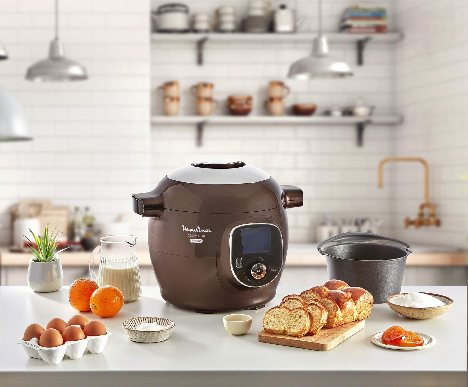 Moulinex CE852900 Intelligent Cookeo+ Gourmet - Cocina multicocción (6 L, 150 recetas preprogramadas + molde para tartas, incluye molde para tartas, color marrón helado): Amazon.es: Hogar