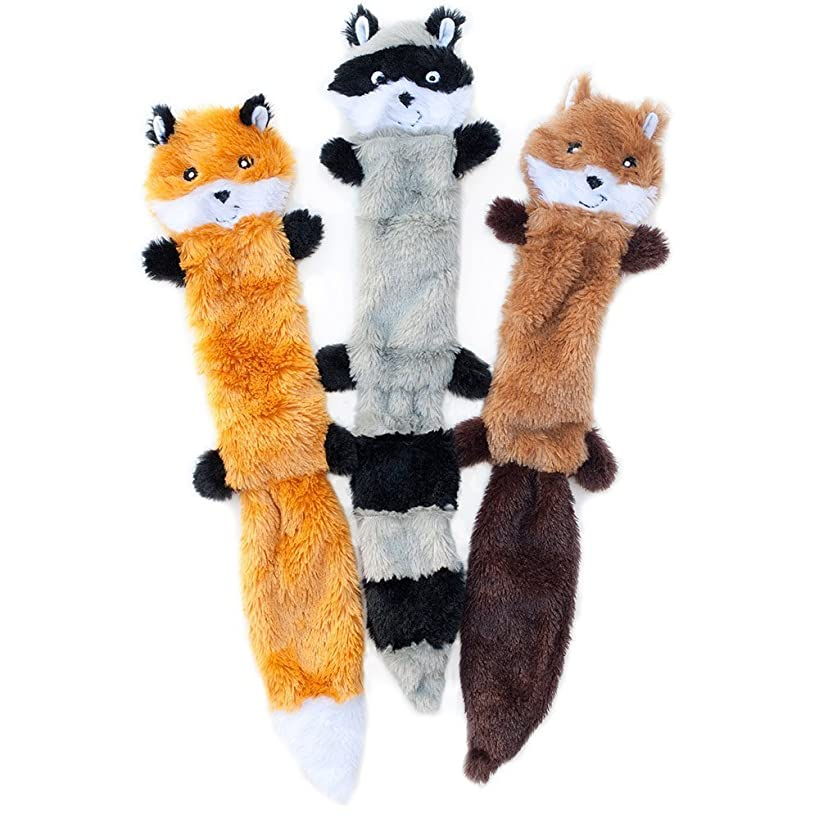 ZippyPaws - Skinny Peltz No Stuffing Squeaky Plush Dog Toy, Fox, Raccoon, and Squirrel