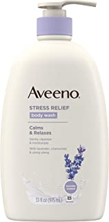 Aveeno Stress Relief Body Wash with Soothing Oat, Lavender, Chamomile & Ylang-Ylang Essential Oils, Dye- & Soap-Free Calmi...