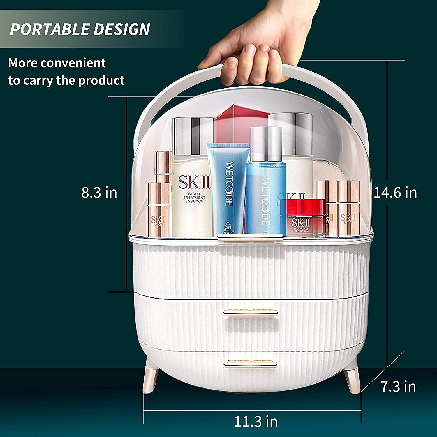 Makeup Organizer, BIRDBELL Cosmetic Display Cases with Brush and Lipstick Organizer, Dust Water Proof Cosmetics Storage Display skincare Case, Suitable for Bathroom Countertop and Bedroom Vanity Dresser (White)