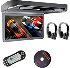 "XTRONS Grey 13.3"" HD 1080P Video Car MPV Roof Flip Down Slim Overhead DVD Player Wide Screen Ultra-Thin with HDMI Input 2PCS Black New IR Headphones Included"