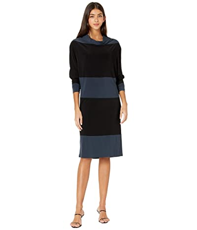 KAMALIKULTURE by Norma Kamali Spliced All-In-One Dress (Pewter/Black) Women