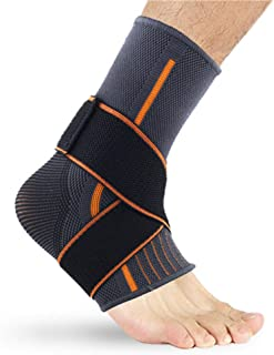 Runee Ankle Brace Compression Support Sleeve with Adjustable Strap for Sprain, Plantar Fasciitis, Sports Protection, Injur...