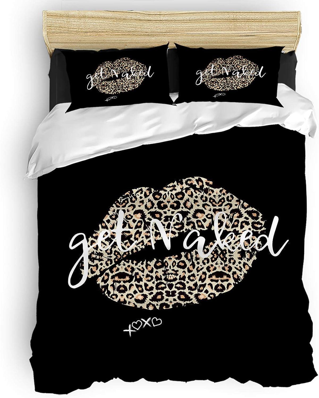 Luxury 4 New item Piece Bedding Set Manufacturer OFFicial shop Queen Sexy Leopar Size Lip Get-Naked